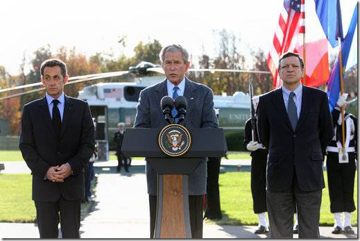 Bush-Sarkozy-Barrosso at Camp David